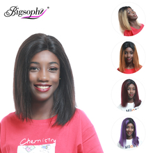 Bigsophy Bob Wig 150% Density Brazilian Straight Short 13X6 Ombre Lace Front Human Hair Wigs  With Baby Remy