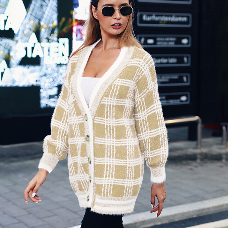 InstaHot Red Plaid Cardigans Women Mohair Women Sweater Autumn Winter Casual Single Breasted Jumpers 2019 Oversized Sweater Top in Cardigans from Women 39 s Clothing