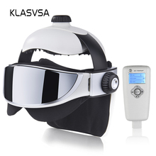 KLASVSA חשמלי ראש צוואר לעיסוי רטט חימום אינפרא אדום רחוק בריאות עיסוי ממריץ שרירים לחץ אוויר מסכת עיניים