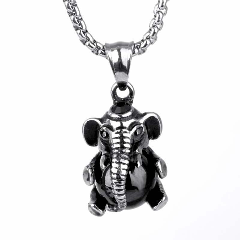 Elephant Pendant Necklace Punk Jewelry Animal Pendant Black Necklace Black Chain