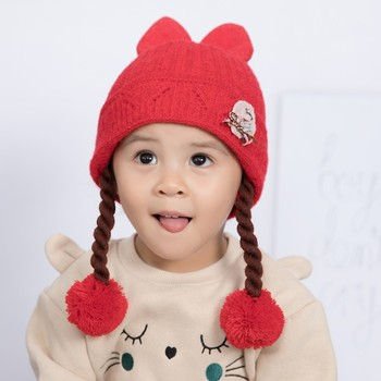61-3T Winter Cotton Warm Toddler Baby Girl Earflap Hat Kids Knit Pom Beanie Cute Ball Design Caps With Fake Braid