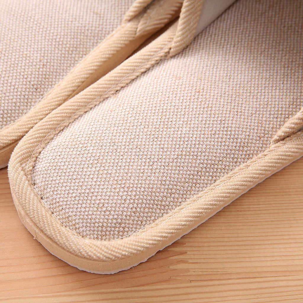 Natuurlijke Vlas Thuis Slippers Indoor Vloer Schoenen Stille Zweet Slippers Voor Slaapkamer Vrouwen Dames Sandalen Slippers Flip Flops YYL