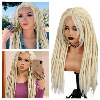 Wignee Blonde Dreadlock Synthetic Wig Hand-woven dirty braided headgear Lace Front Wigs Braiding Crochet For Black Women Hair wignee hand made front ombre color long blonde synthetic wigs for black white women heat resistant middle part cosplay hair wig