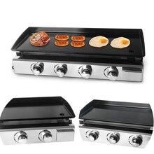 ITOP 2/3/4 버너 가스 그릴 BBQ Plancha 스테이크 비프 튀김 LPG 가스 철판 Plancha 철 요리 접시 야외 철판 구이 도구