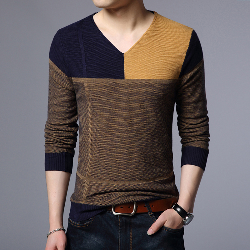 New Arrival Spring Autumn Mens Basic Warm Knit Sweater Fashion Plaid Casual Male Long Sleeve Free Shipping