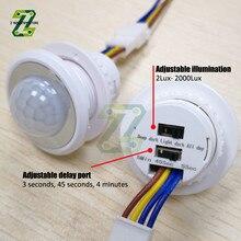 AC 85V-265V LED PIR Adjustable Delay Embedded Human Body Infrared Detector Infrared Motion Sensor Detector Switch