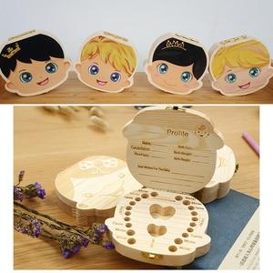 Baby Wood Tooth Box Organizer Milk Teeth Storage Language Spain English Collect Teeth Umbilica Save Gifts Baby Tooth Box