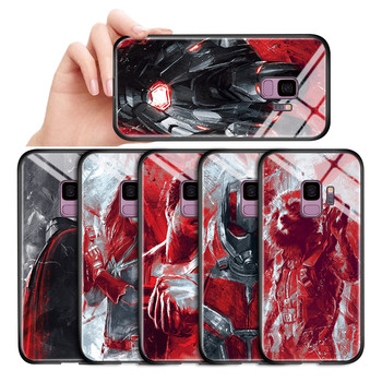 For Samsung A6 A8 Plus A7 A9 2018 Cases Marvel Avengers Superhero Captain Hulk Thor Ironman Tempered Glass Back Casing Cover image
