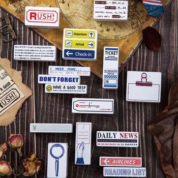 Sellos de goma madera Vintage para decoración de viaje para álbum de recortes tarjeta hecha a mano sello manualidad álbum de fotos regalos