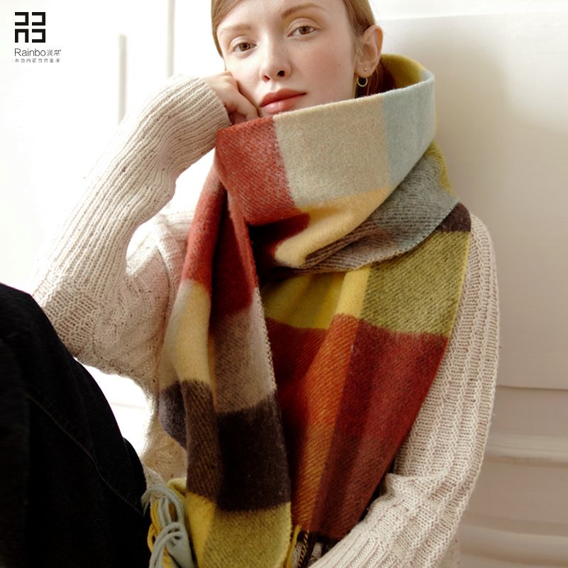 winter 2019 new fashion trend rainbow Wool Plaid women's scarf super long thickened wool warm shawl,Seven color wool warm scarf