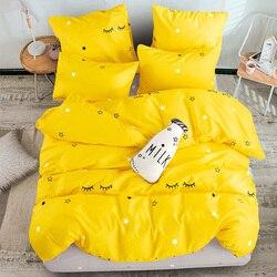 ชุดเครื่องนอนผ้าฝ้ายสีบริสุทธิ์บริสุทธิ์ A/B สองด้านรูปแบบการ์ตูนเรียบง่ายเตียงผ้าห่มปกคล...