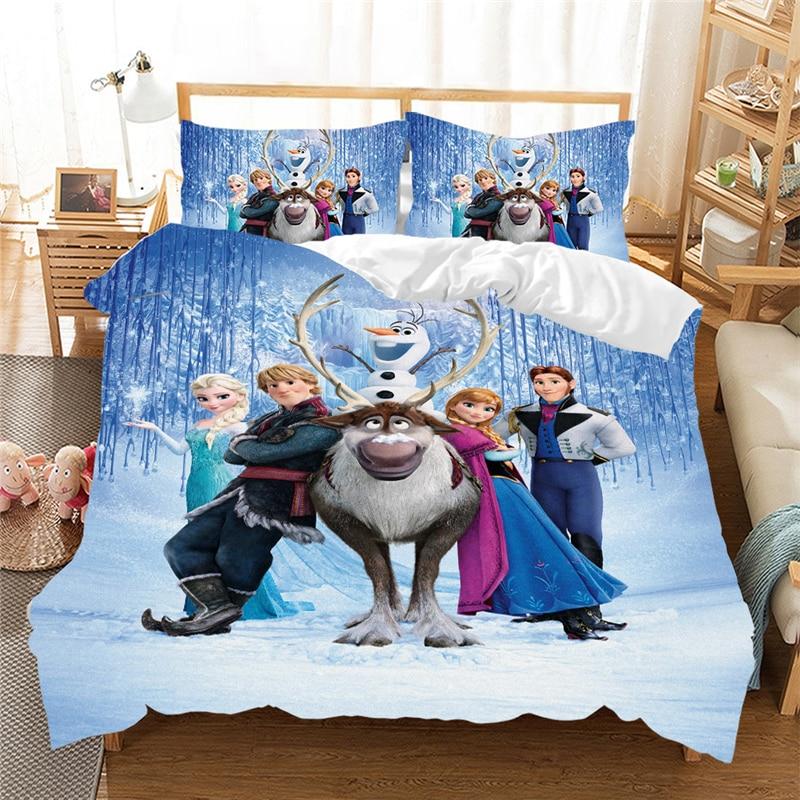 Girls Bedding Set Frozen Elsa Anna Double Queen King Size  Duvet Cover Twin Bed Linen Children Comforter Bedding Sets Luxury