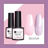 UR SUGAR 2Pcs/Lot Glitter UV Nail Gel Polish Set Semi Permanent Vernish Top Coat UV LED Gel Varnish Soak Off Pink Color Series