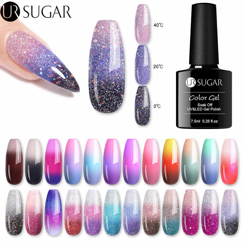 UR Gula Pelangi Warna Berubah Panas Kuku Gel Polandia Glitter Suhu Rendam Off Uv Gel Varnish 7.5 Ml Nail Art