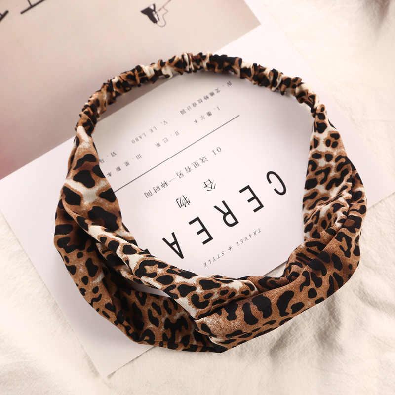 Nueva de moda Cruz Floral cabello o Scrunchie. Nudo leopardo elástico pelo diademas diadema accesorios Bandanas