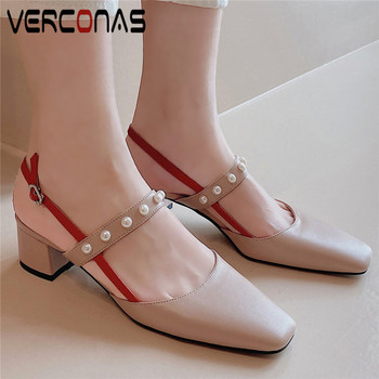 VERCONAS Women Mary Jane Pearl Buckle Thick Heel Square Toe Genuine Leather High Heels Sandals Party Shoes Slippers Shoes Woman
