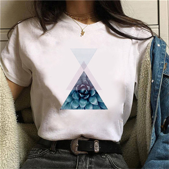 Beautiful geometry printed t shirt women 90s Graphic T-shirt Harajuku Tops Tee Cute Short Sleeve animal tshirt Female Tshirts 11