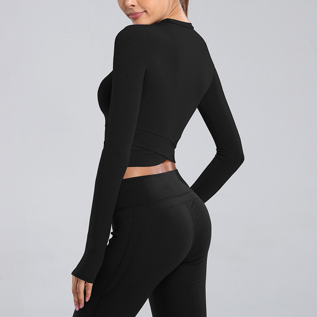 Sfit Tight Seamless Yoga Shirts Women Long Sleeve Cropped Gym Tops Fitness Woman Running Workout Sport T-Shirts Sports Wear