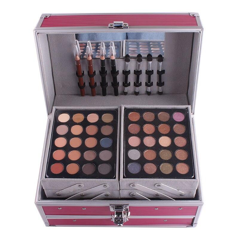 Miss Rose профессиональный набор для макияжа коробка для макияжа Блеск Мерцающий матовая Палетка теней для век Блеск для губ Румяна Кисточки для макияжа - 4
