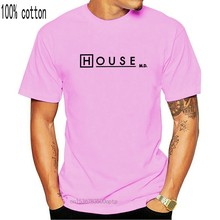 one yona House MD T Shirts for Men Dr House Logo White Tops Short Sleeve Casual T-Shirt Round Neck Pure Cotton Tees