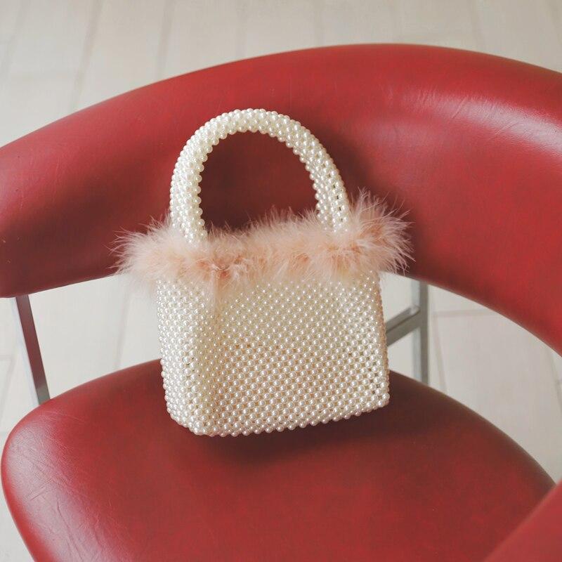 Plume bordure à la main perlé perle sac femme 2019 nouvelle mode Texture petit sac carré de luxe sacs à main femmes sacs concepteur