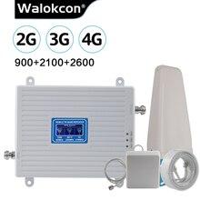 2G 3G 4G 2600 트라이 밴드 셀룰러 증폭기 2G GSM 900mhz 신호 리피터 70dB 3G WCDMA 2100mhz 4G LTE 2600mhz Moblie Booster Set