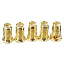 5 Pcs SMA Female Nut Bulkhead Crimp Straight RF Coax Connectors Adapters цена 2017
