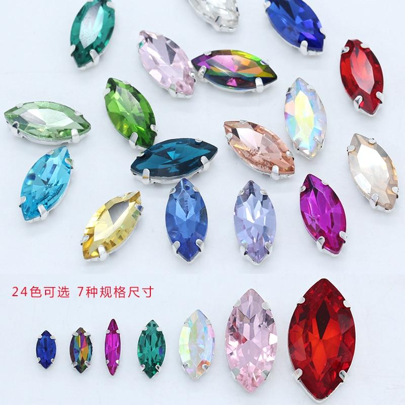 Alle-größe Navette 24-farbe glas stein Flatback nähen auf kristall strass juwelen perlen silber klaue taste für bekleidungs Zubehör