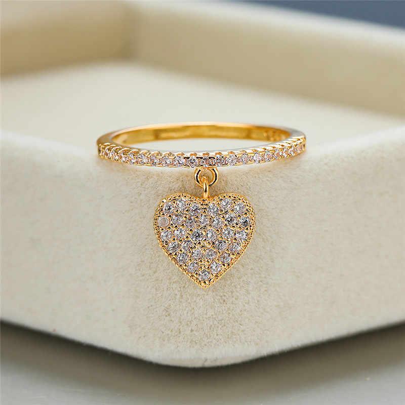 Leuke Hart Hanger Wit Zirkoon Ringen Voor Vrouwen Geel Goud/Wit Goud/Rose Gold Engagement Promise Ring Vrouwelijke bruiloft Sieraden