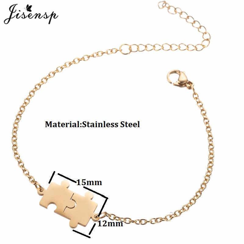Jisensp regulowana bransoleta ze stali nierdzewnej dla kobiet mężczyzn srebrny kolor geometryczne Puzzle Charm bransoletki Pulseira najlepszy przyjaciel Gif