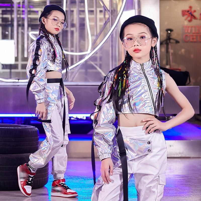Модная Серебряная одежда в стиле хип-хоп для девочек, уличный танцевальный костюм, джазовые топы, свободные штаны, сценический костюм, наряд...