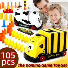 105pcs DIY Domino Toy Train Toys Plastic Children Kids Dominoes Game Blocks Assembled Educational Toy Birthday Christmas Gift(China)