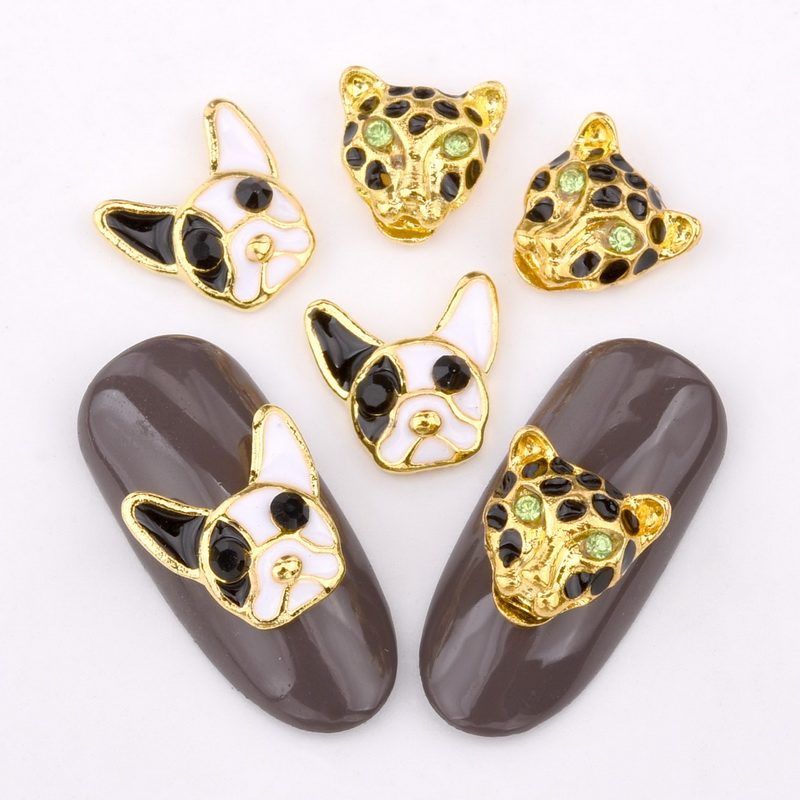 10 шт. 3D ногтя украшения собака голова леопарда головы с подвесками капли эффект дизайн, золото, DIY аксессуары для ногтей QB052-053