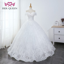 Vestido De baile vestidos De Novia princesa encaje hasta mangas casquillo rebordear perlas Vestido De Novia marfil Vestido De Novia WX0043