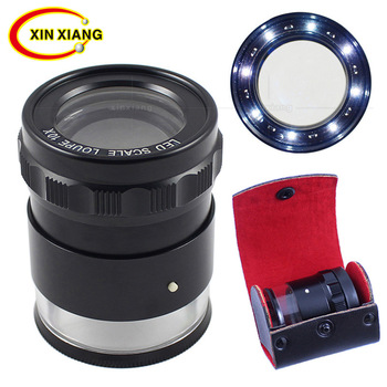 High-end Scale Magnifier 10X Illuminated Magnifying Glasses Portable Desktop 8 Lamp LED Loupe Monocle Lupe