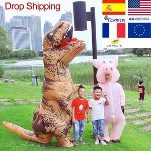 Image 1 - T REX maskotka nadmuchiwany kostium na halloween boże narodzenie dorosłych dzieci Anime Cosplay dinozaur zwierząt Dino Cartoon prezent Disfraz