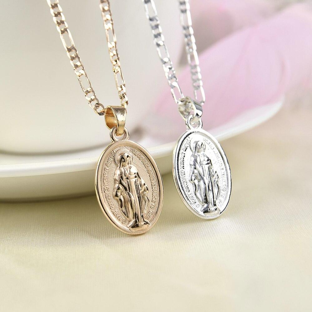 2019 высокое качество, новая мода для мужчин и женщин, золотистое серебряное католическое ожерелье Девы Марии, ювелирные изделия, подарки, опт...
