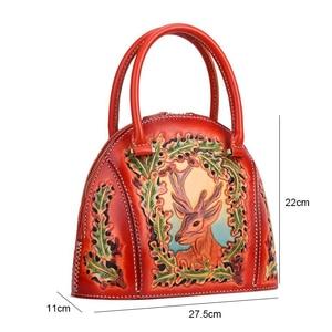 Image 5 - Johnature 럭셔리 핸드백 여성 가방 디자이너 2020 새로운 수제 가죽 조각 레트로 숙녀 핸드 가방 중국어 스타일 토트