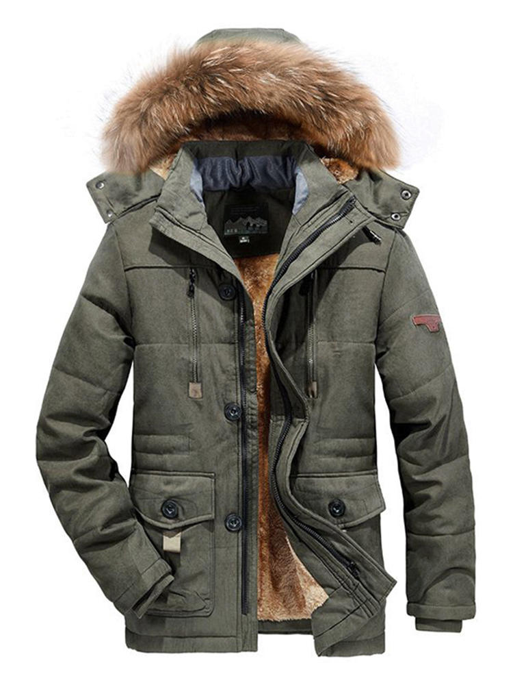 Warm Jackets Coat Parkas Fur-Collar Thicken Men Winter Large-Size Casual Fashion High-Quality