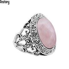 Vintage rosa cuarzo Jades amatistas anillos para mujer antiguo plateado planta Caracol moda anillo
