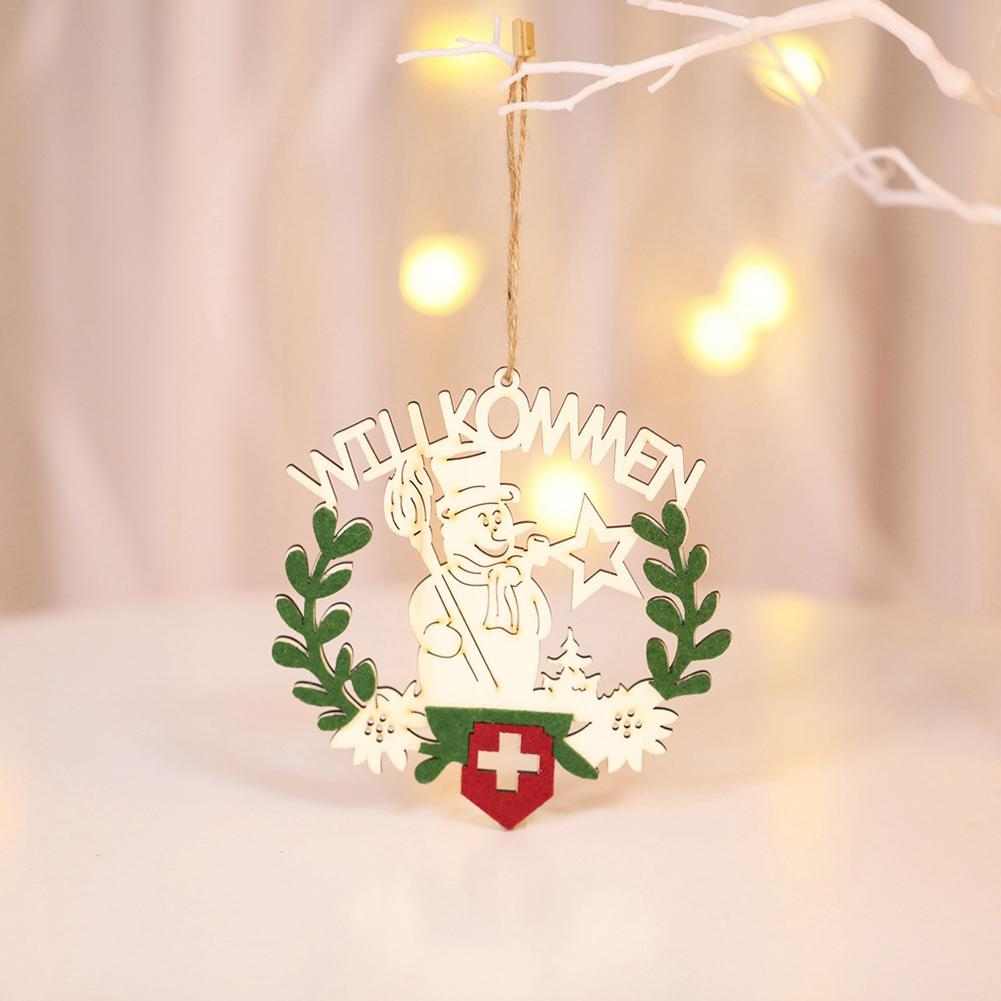 Christmas Wooden Wreath Pendant For Hotels Restaurants Snowflake Pendant Christmas Tree Decoration Animated Music Lights in Pendant Drop Ornaments from Home Garden
