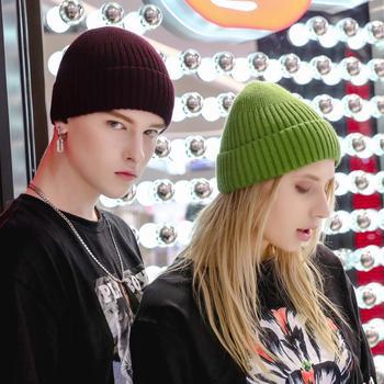 Fashion Skull cap Men Women Solid Color Knitted Skullies Beanies Boys Girls Streetwear Hip Hop Hats Autumn Winter Knit Warm Cap 2