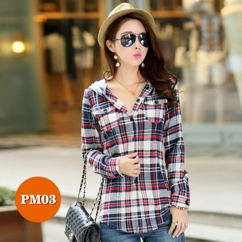 High-end women's plaid shirt Japanese style 100%Cotton Soft Breathable Comfortable Colorfast Anti-Pilling Keep-warm Hooded shirt 8