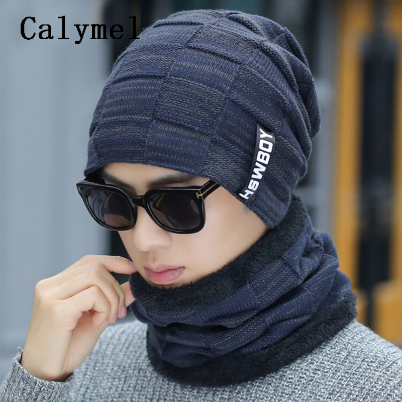 Calymel 2019 New Scarf And Hat Sets Simple Neckerchief Men Knitted Warmer Wool Cap Beanies  Autumn Winter Velvet Thick Hat