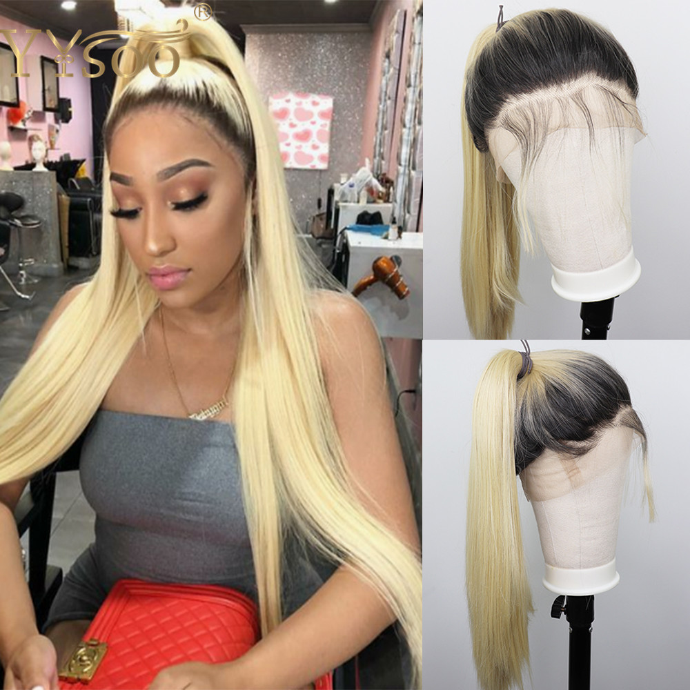 YYsoo Long Straight Ombre Synthetic Full Lace Wigs1b/Blonde Heat Resistant Japan Futura Synthetic Full Hand Tied Wig Dark Roots