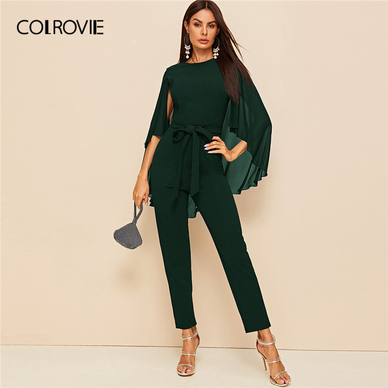 COLROVIE Solid Cloak Sleeve Belted Jumpsuit Green Long Sleeve Straight Leg Jumpsuits Women 2019 High Waist Style Long Jumpsuits