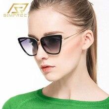 SIMPRECT – lunettes de soleil œil de chat pour femmes, surdimensionnées, mode métal, miroir, rétro Vintage, 2021