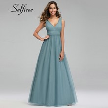Robe Femme Dusty Blue Women Dresses A-Line V-Neck Sleeveless Draped Elegant Summer Dresses Sexy Ladies Maxi Dresses Vestido 2019 цена