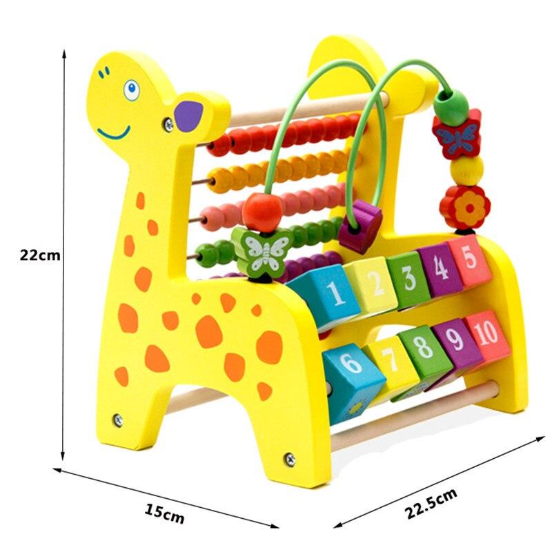 Calculation Frame Wooden Toys Multi-functional Solid Color Deer Bead-stringing Toy Calculation Frame Beaded Bracelet Children Ea