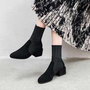 Image 2 - Krazing Pot popular breathable soft flock knitting socks boots round toe med heels slip on winter women solid ankle boots L92